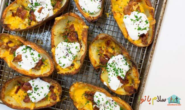 سیب زمینی پنیر ترد – غذای ساده و خوشمزه
